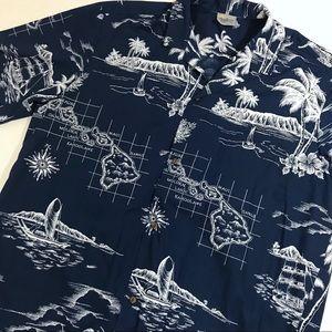 Royal Creations Hawaiian Map Print Shirt